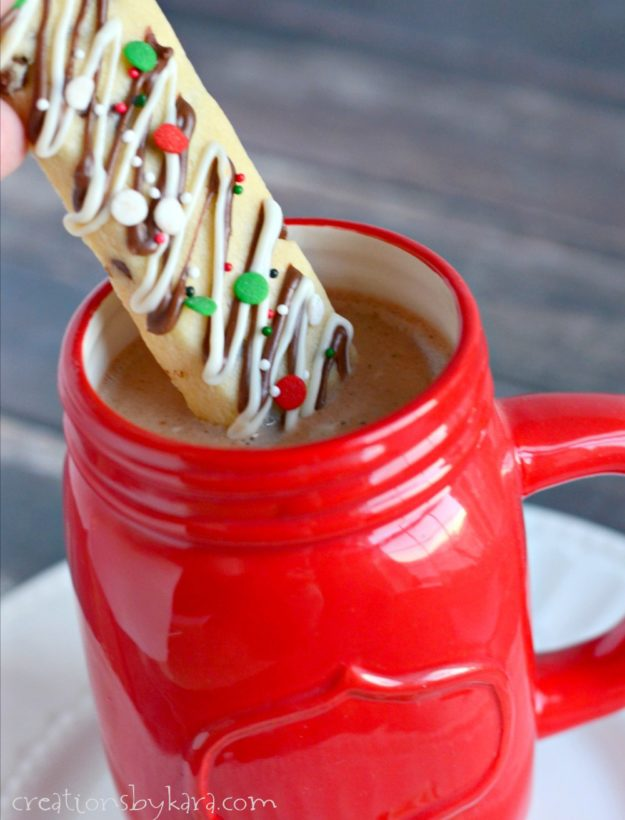 Chocolate Chip Christmas Cookie Sticks are an easy way to celebrate the season. Dip them in hot chocolate for the perfect dessert!