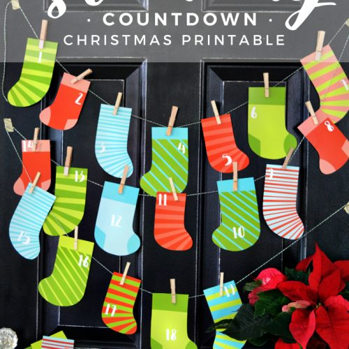 Christmas Stocking Countdown Printable. Print off these colorful stockings and use them as a fun advent this holiday season!