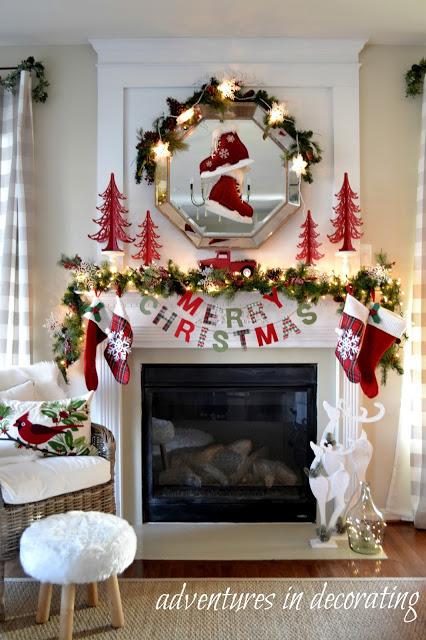 Merry Christmas plaid Christmas Mantel Decorating Ideas