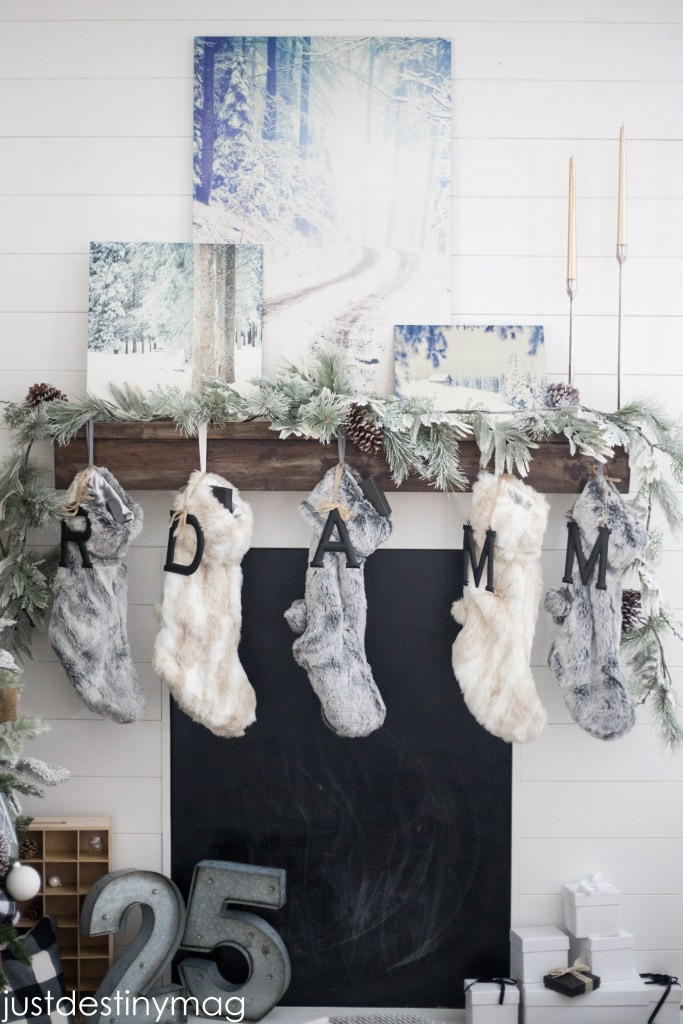 Cozy Cabin Holiday Mantel with fur stockings