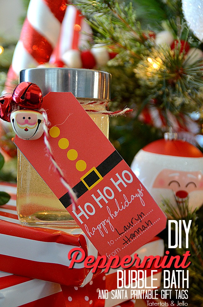 Make DIY Peppermint Bubble bath with peppermint essnential oil and free santa printable tags!