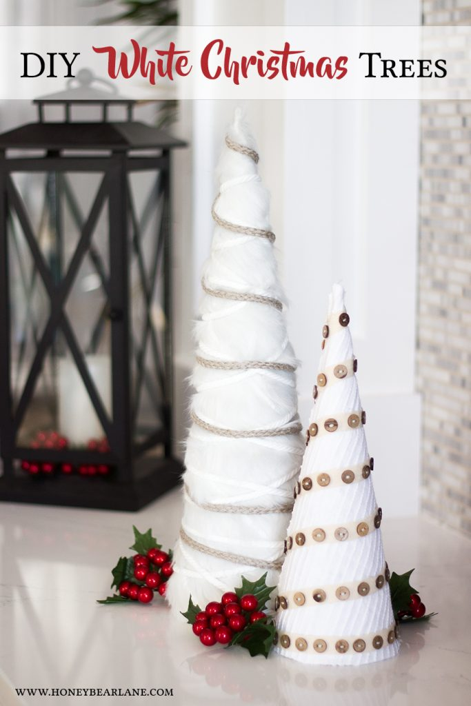 Farmhouse Neutral DIY Trees. Make cone trees to decorate for the holidays. The neutral color and layers of texture will look great with any color scheme.