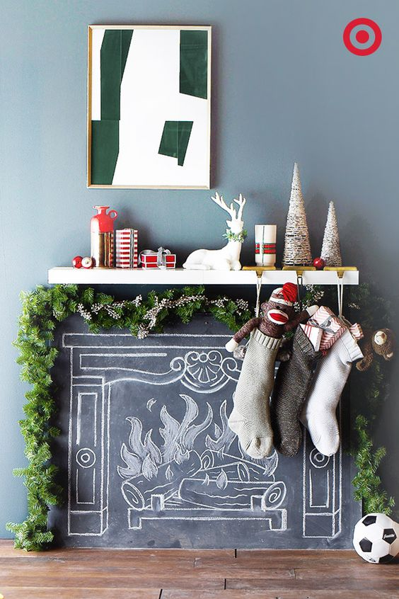Faux chalkboard holiday mantel idea and more gorgeous mantel ideas plus 100 other ways to make the holiday season great in your home this year!