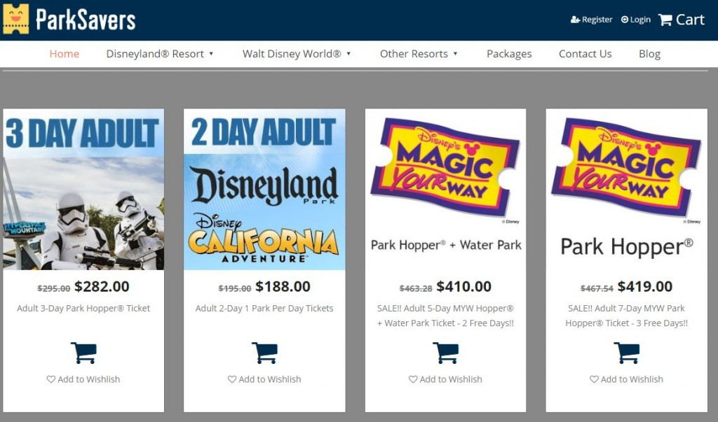 Parksavers offers discounted disneyland tickets and hotels.