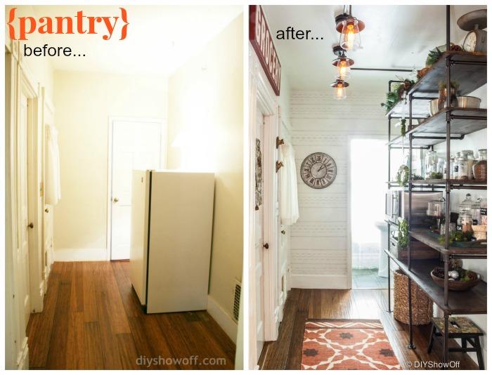 open pantry pipe shelves