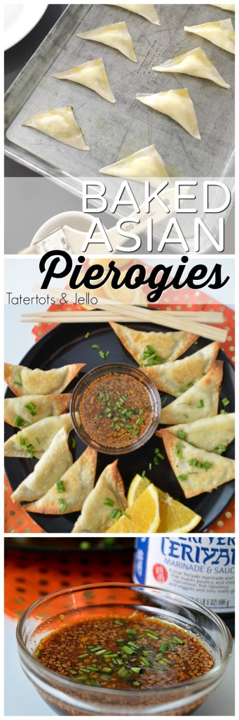 Baked Asian Pierogies with Orange Teriyaki Dipping Sauce. Take traditional pierogies and give them an asian twist with these easy asian appetizers. Perfect for the holidays!