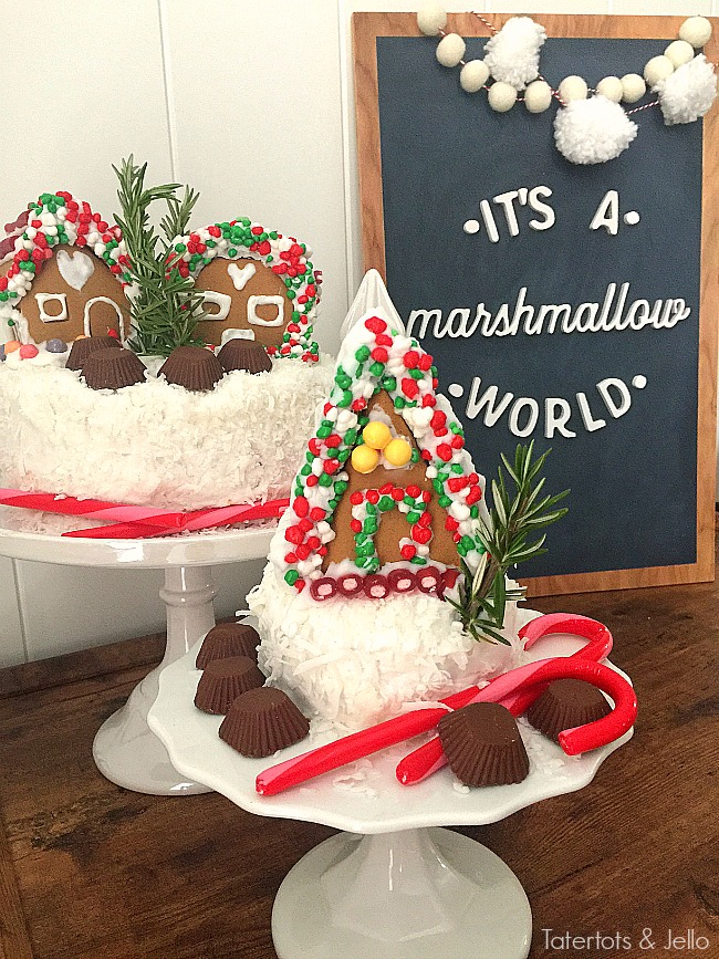 Mini Gingerbread Village Cakes. Add mini gingerbread cakes to the top of cakes for a fun centerpiece for holidays parties. Gingerbread decorating ideas!