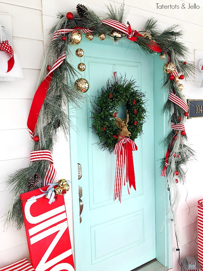 turquoise and red christmas porch