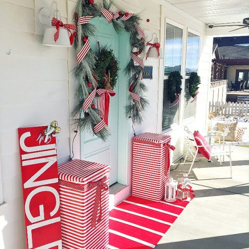 North Pole Porch. Red and white