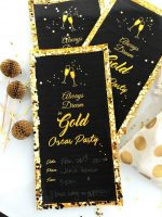 Always Dream in Gold Oscar Glitter Invitation and Printables