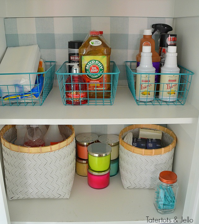 """Closet Makeover with Fabric. Create """"faux"""" wallpaper for the fraction of the price iwth panels that can be changed out. All the no-sew details."""