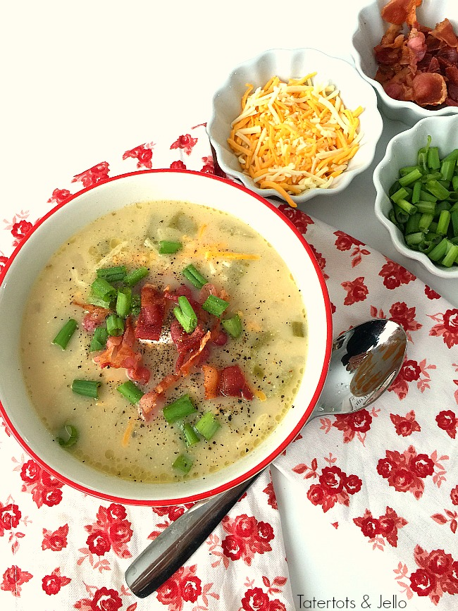 Pressure Cooker Loaded Baked Potato Soup. This comforting potato soup will satisfy everyone in your family. Use your pressure cooker and you can make it in under one hour!