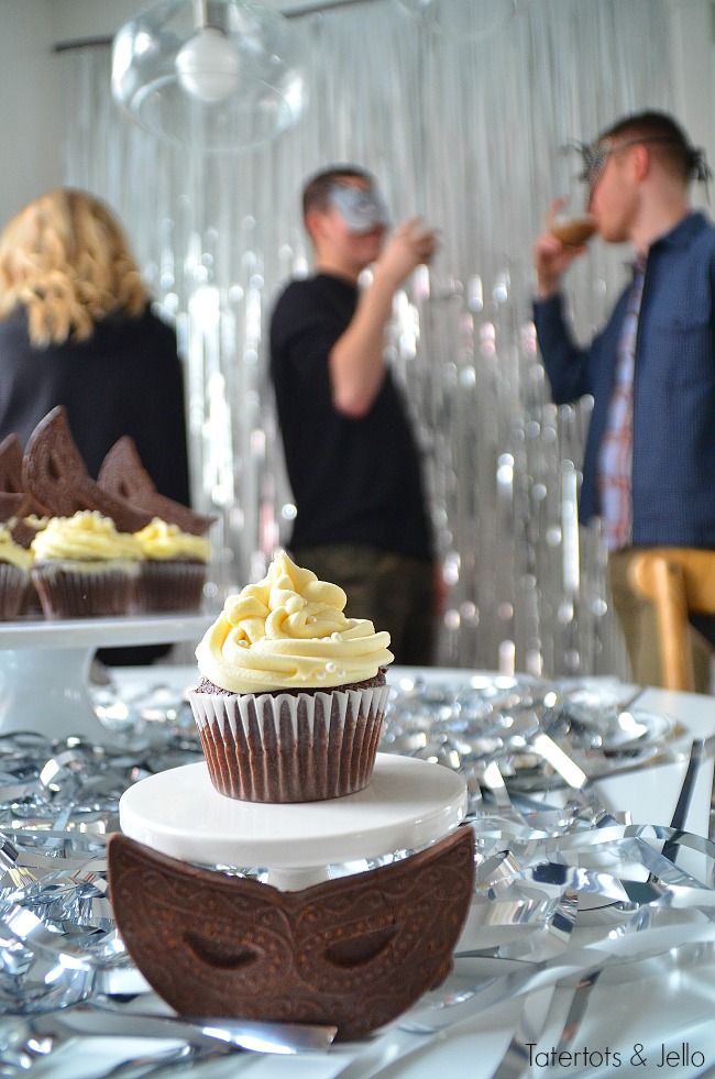 Whipped white chocolate ganache frosting recipe and masquerade party ideas