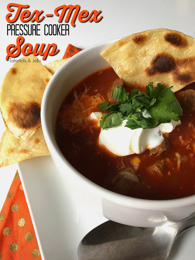 Use your pressure cooker/instant pot to make a this fast and satisfying Tex Mex Soup that is packed with protein and vegetables. It's the perfect soup to make on a cold Winter's night!