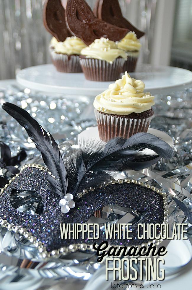 Dark Chocolate Ganache Cupcakes with Whipped White Chocolate Ganache Frosting. Decadent Masquerade Cupcakes.