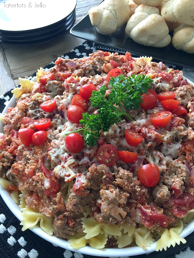 Creamy Italian Sausage Skillet Recipe. This creamy recipe is filled with flavorful sausage and a creamy tomato sauce over pasta. Your family will love it.
