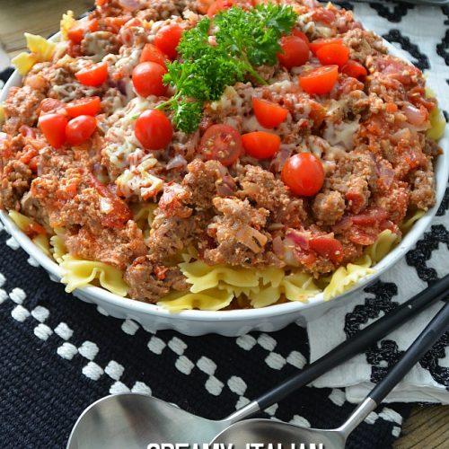Italian pasta sausage skillet bake
