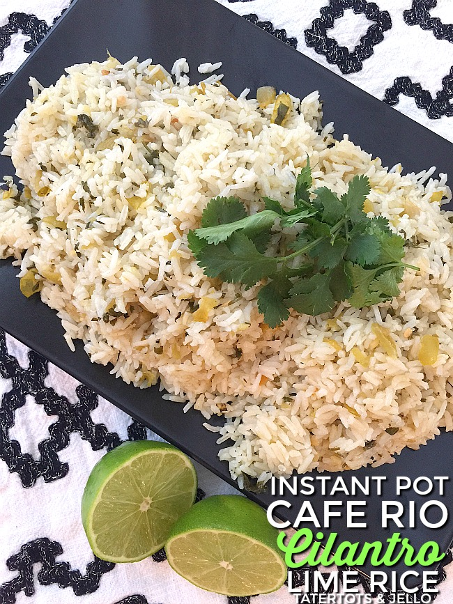Make Cafe Rio Inspired Cilantro Lime Rice in your Instant pot. It only takes 6 minutes for the rice to cook and it's light, fluffy and so so good!
