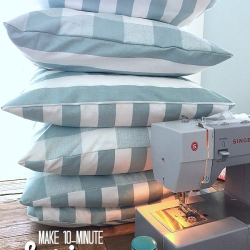 Make 10 minute spring pillow covers. Change up the look of your room in just minutes inexpensively.