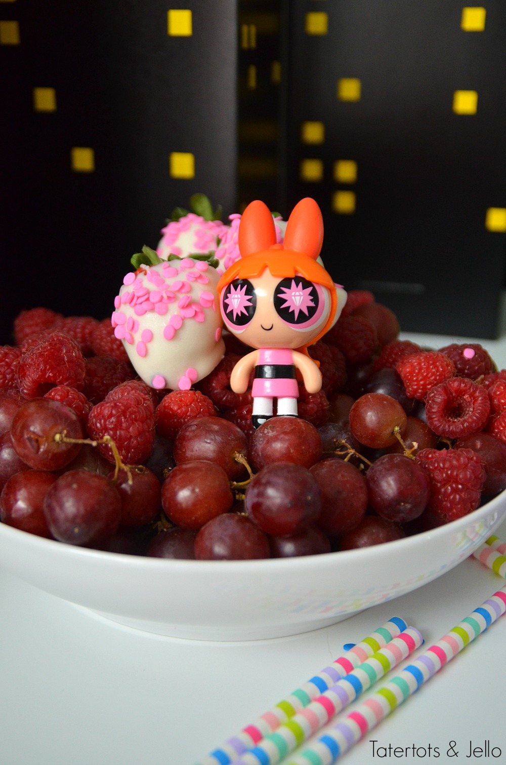 Powerpuff Girls Party Ideas. Make healthy fruit trays in each of the character's colors - pink, blue and green!