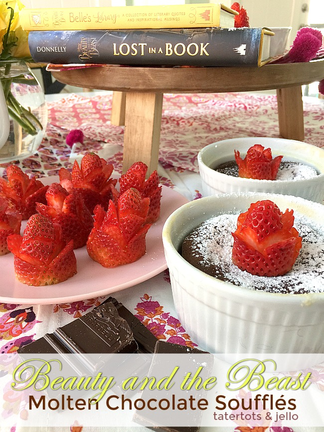 Beauty and the Beast Molten Chocolate Souffles with Strawberry Roses. These beautiful chocolate desserts are delicious and easy to make. You can garnish them with strawberry roses.