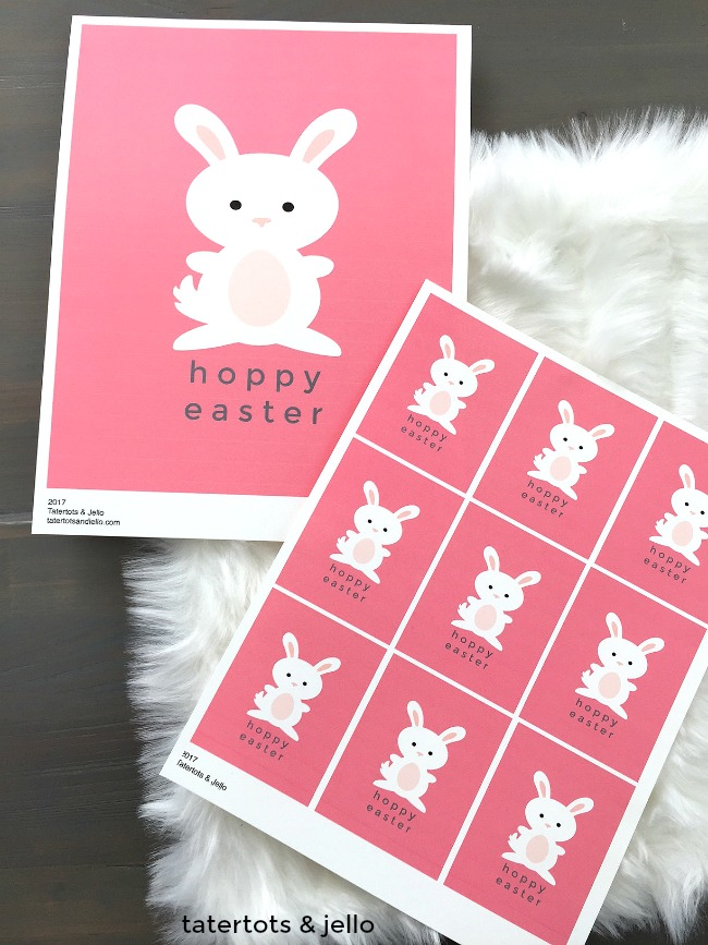Easter Bunny Printable Art. Print off this free Spring art for your home. Also included are small printable gift tags.