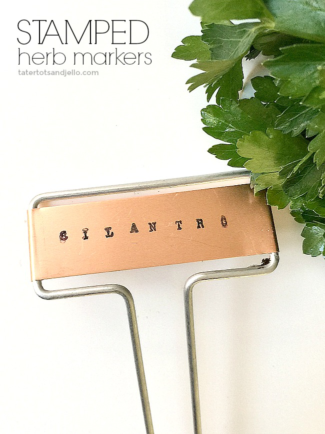 how to make a tiered herb planter and DIY stamped herb garden markers.