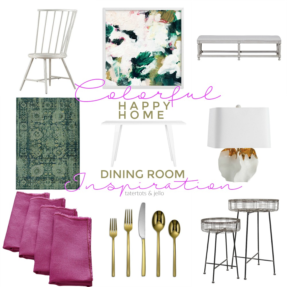 Colorful Happy Home Dining Room Inspiration. Ways to bring bright happy color into your home.