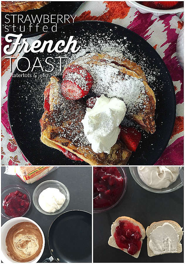 Strawberry Stuffed French Toast. Creamy strawberry filling dipped in almnd egg batter and baked to golden perfection is perfect for Father's Day!