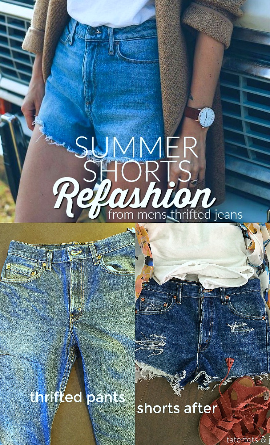summer shorts refashion from thrifted jeans free refashion