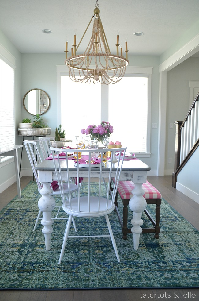Colorful Happy Home Dining Room. Affordable, creative ways to create a colorful modern scandinavian dining room in your home.