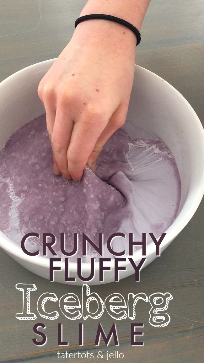 Crunchy Fluffy Iceberg Slime. Make borax-free slime, it has a crunchy top and fluffy underneath. Your kids will love making it!
