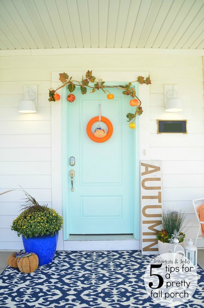 Simple and bright fall porch at tatertots and jello