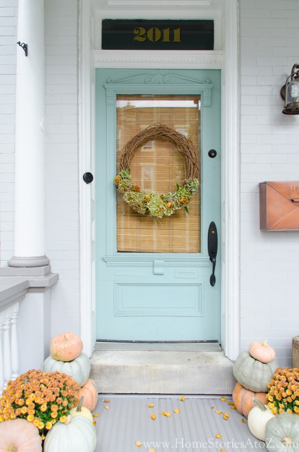 Soft pastel fall porch from Home Stories A to Z