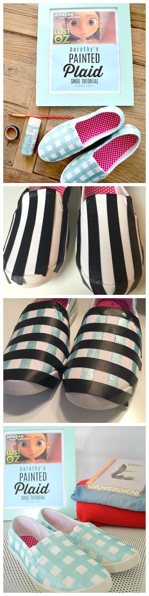 Painted Plaid Shoe Tutorial. Make custom shoes for back to school based on the new Lost in Oz animated series.