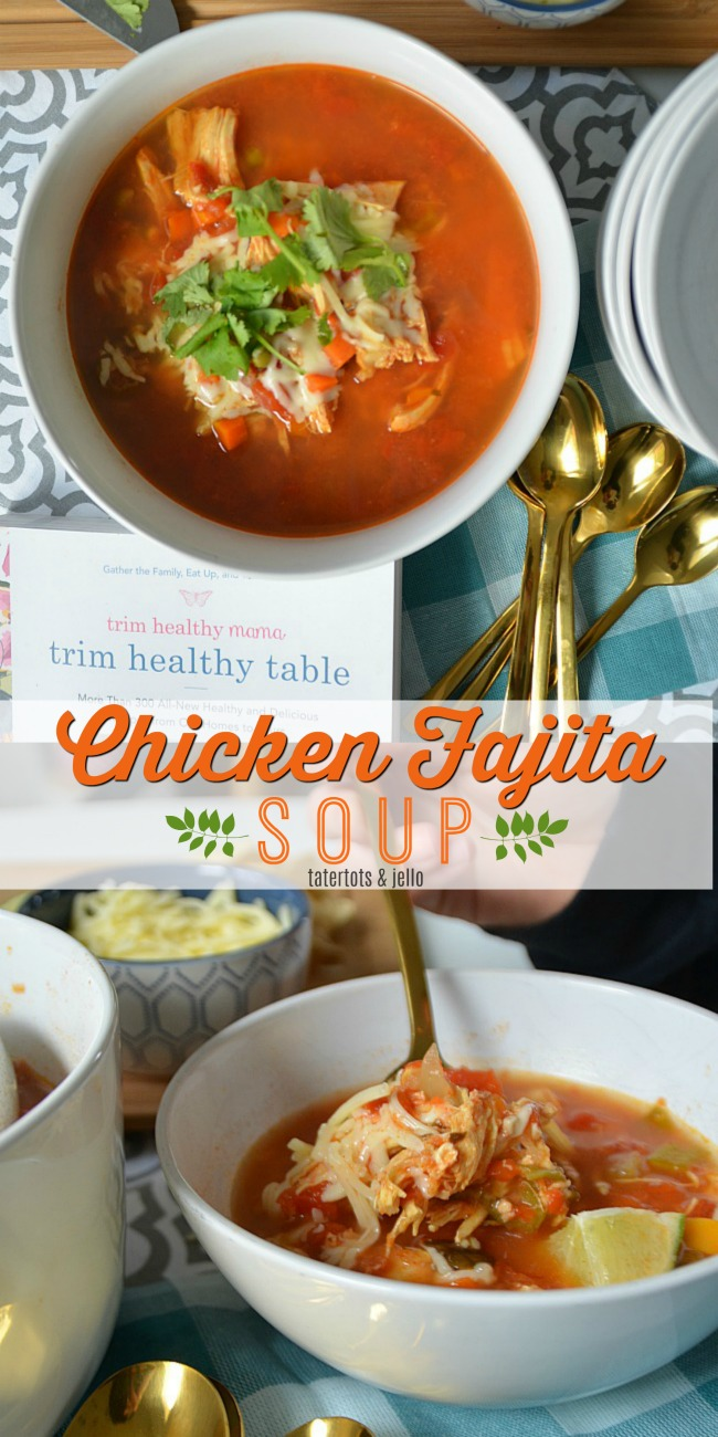 Chicken Fajita Soup Recipe from trim healthy table is a quick, hearty soup that's healthy for the whole family and takes under 30 minutes to make!