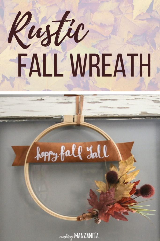 Modern Fall Leather Wreath Tutorial. Create this spohisticated Fall leather wreath. It's easy to make and will welcome visitors to your home all autumn long!