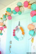 Make a Super Easy Pumpkin Rainbow Wreath for Fall!