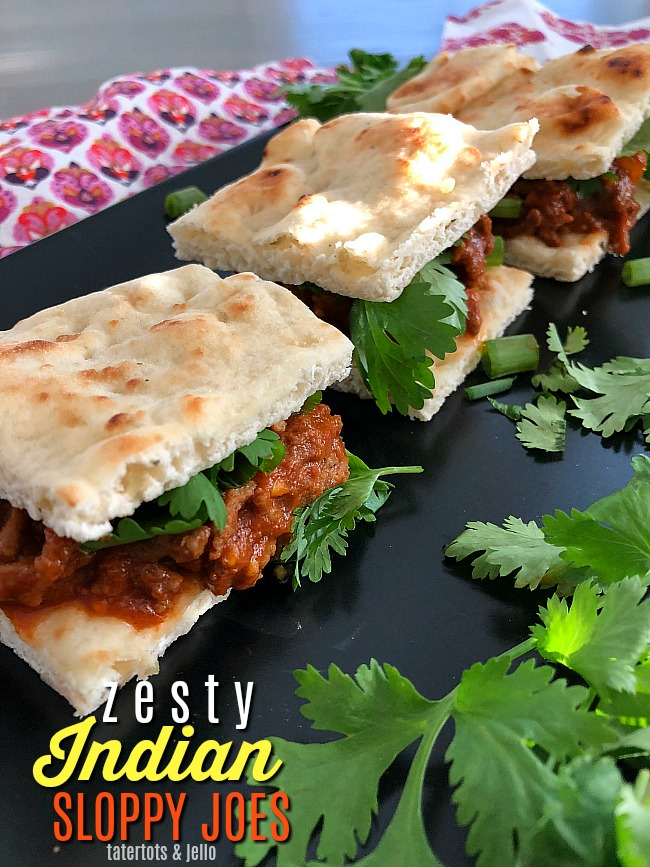 Zesty Indian Sloppy Joes are a fragrant twist your taste buds will love. Cumin, coriander and ginger create an flavorful combination, serve on naan bread and top with cilantro!
