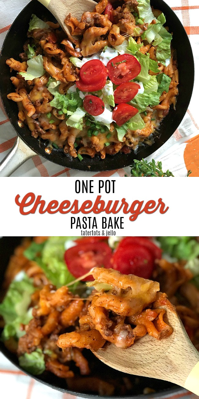 The nice thing about this recipe is that it is one pot. Even the pasta is cooked in the skillet and the pasta, combined with the hearty hamburger and toppings of lettuce and tomatoes is just like a burger -- but better (IMHO)!