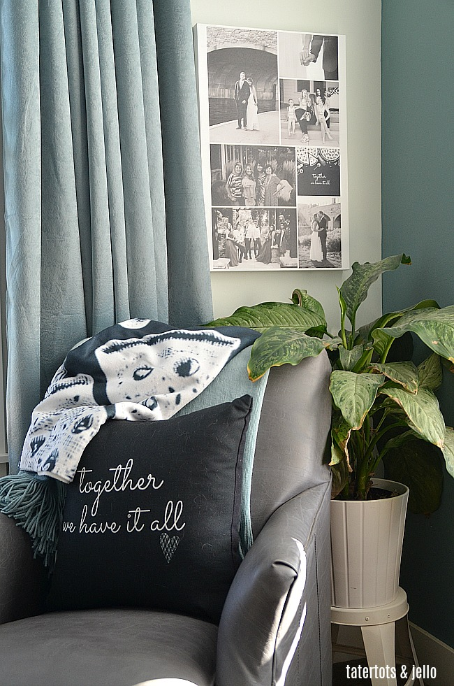 Master Bedroom Cozy Sitting Area and Free Printables. Print off these free printables and create pillows, art and a throw for your bedroom for fall and winter!