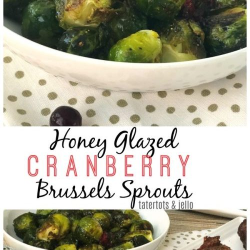 Honey cranberry glazed brussel sprouts are a festive holiday side dish. Perfect with steak!