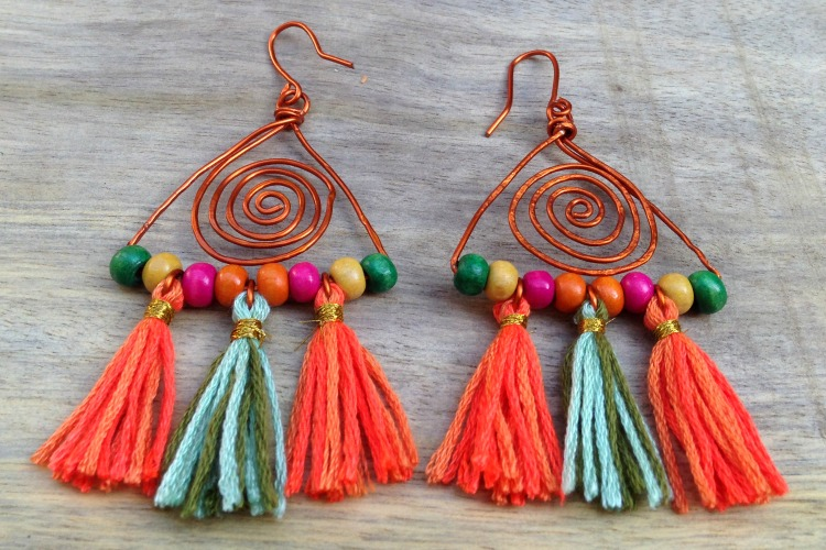 colorful boho earrings DIY