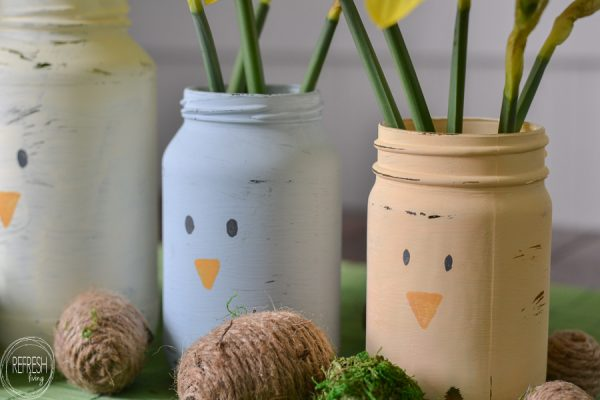 farmhouse easter painted mason jars