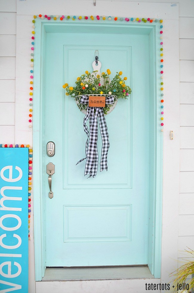 Spring Door with felted ball and greenery basket