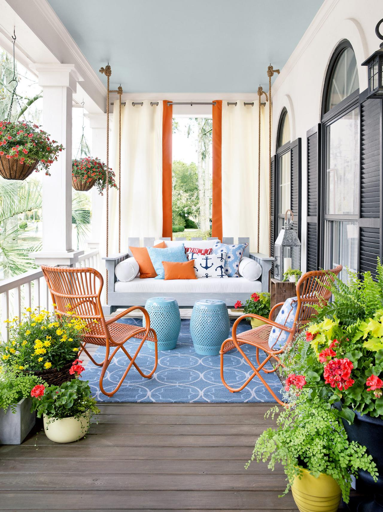 Spring Porch Ideas with a bed porch swing.