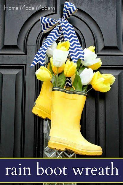 Spring Door with boots flower vases.