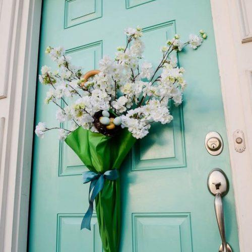 umbrella flower spring door hanging - farmhouse easter