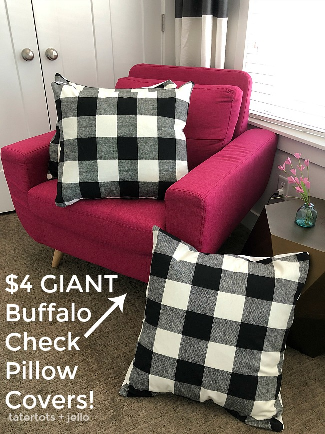 How to make Farmhouse Buffalo Check Pillow Covers for less than $4 each!