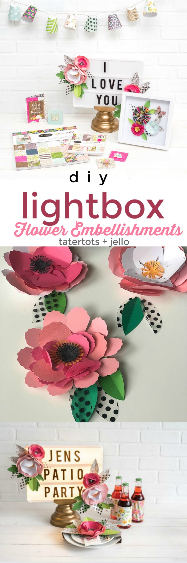Dress up your marquee lightbox with paper flowers. You can change them out throughout the year. It's an easy way to make your lightbox the centerpiece of your home decor! #papercrafts #lightbox #paperflowers